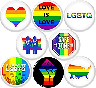 20 x Love Trumps Hate BUTTON PIN BADGES 25mm 1 INCHLGBT Rainbow Anti Donald