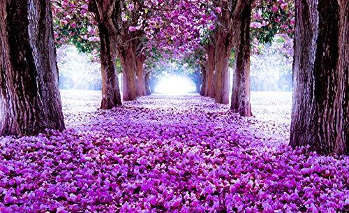 Forwall Fototapete Blue Back Wandtapete Lila - Blumen Violett Allee Moderne Wand Dekoration Wandbild 2379P4 254cm x 184cm Schlafzimmer Wohnzimmer