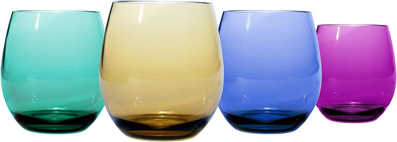 Oenophilia Plastic Stemless Wine Glasses - Colors Selling and selling Set Tone sale Jewel