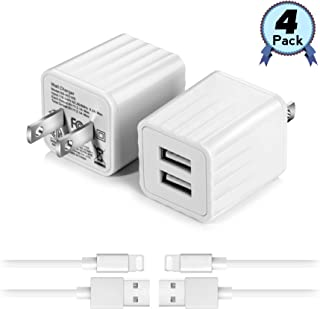 USB Wall Charger with 3 ft iOS Charging Cable,2.1A Dual Port Phone Fast Charger Adapter Plug Cube Compatible with iPhone 11/11 Pro/11 Pro Max/XS Max/XS/XR/X/8/8 Plus/7/7 Plus/6 and More- 4 Pack
