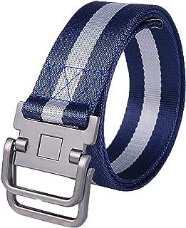 YAOLUU Cinturón de Lona para Hombre Anillo Doble Hebilla Cinturón Deportivo y de Ocio Largo 115 cm (Color : Azul)