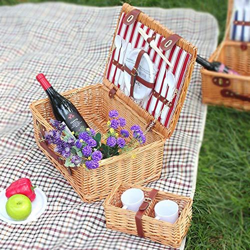 MXQHH 2 Personen Picknickkorb Retro Design Mit Geschirr Und Picknickdecke Für Weihnachten, Geburtstag, Jubiläum & Glückwunsch Geschenke