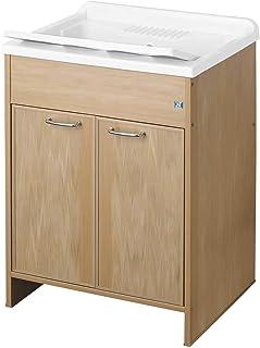 Negrari 9002KF Lavoir, baignoire et assises blanche/meuble et porte frêne