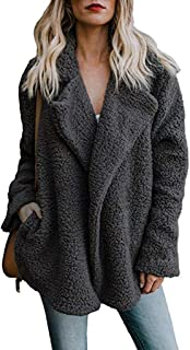 Pgojuni Winter Women's Casual Jacket Warm Parka Outwear Plush Ladies Coat Overcoat Outercoat Cardigan (Black-01, XL)