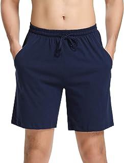 Aibrou Men's 1 or 2 Pcs Pyjama Shorts 100% Cotton Lounge Shorts Pj Bottoms w Pockets for Summer