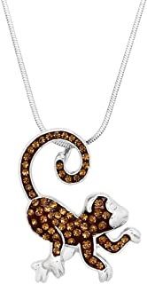 Lola Bella Gifts Crystal Monkey Pendant Necklace with Gift Box