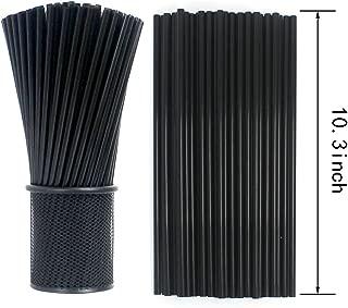 Tomnk 500pcs 10.3 Inches Drinking Straws Black Plastic Straws