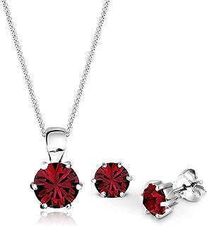 Elli Women Classic Burgundy Red Swarovski® Crystals 925 Sterling Silver Jewelry Set