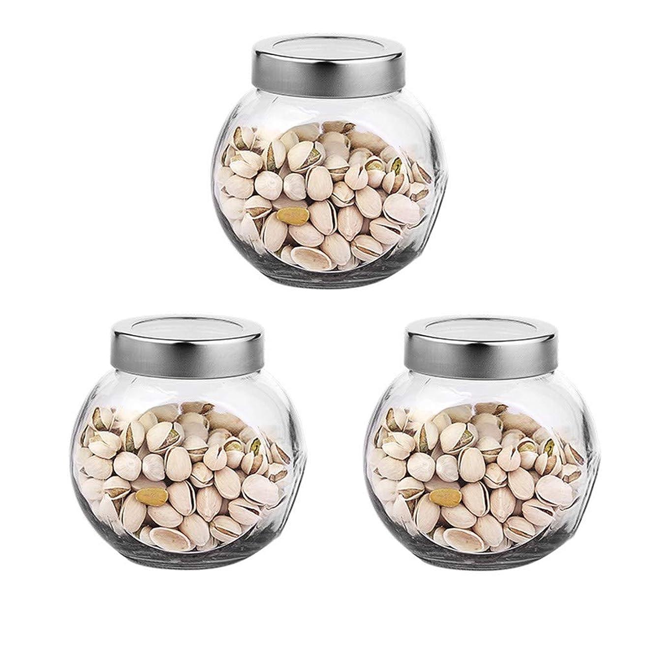 ゴミ箱使用法レッドデート3つの透明ガラス貯蔵容器茶/季節密封缶の貯蔵瓶パック(650 ml)