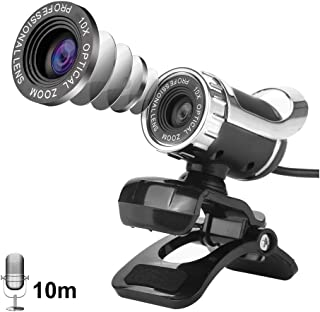 Computer Webcam, USB 2.0 12M Clip-on Web Camera 360° Rotable Holder HD Laptop Camera Built-in Sound Absorption Microphone for PC