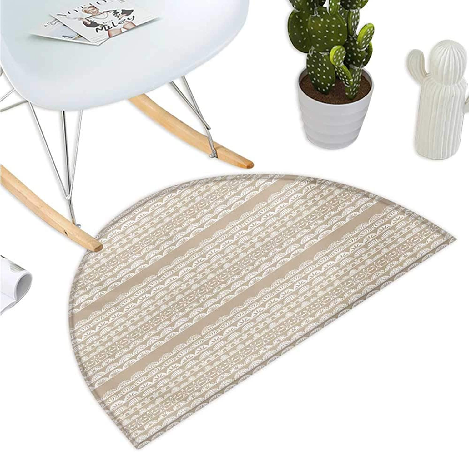 Tan and White Semicircular Cushion Lace Style Antique Border Motifs Collection Vintage and Feminine Ornament Halfmoon doormats H 35.4  xD 53.1  Tan White