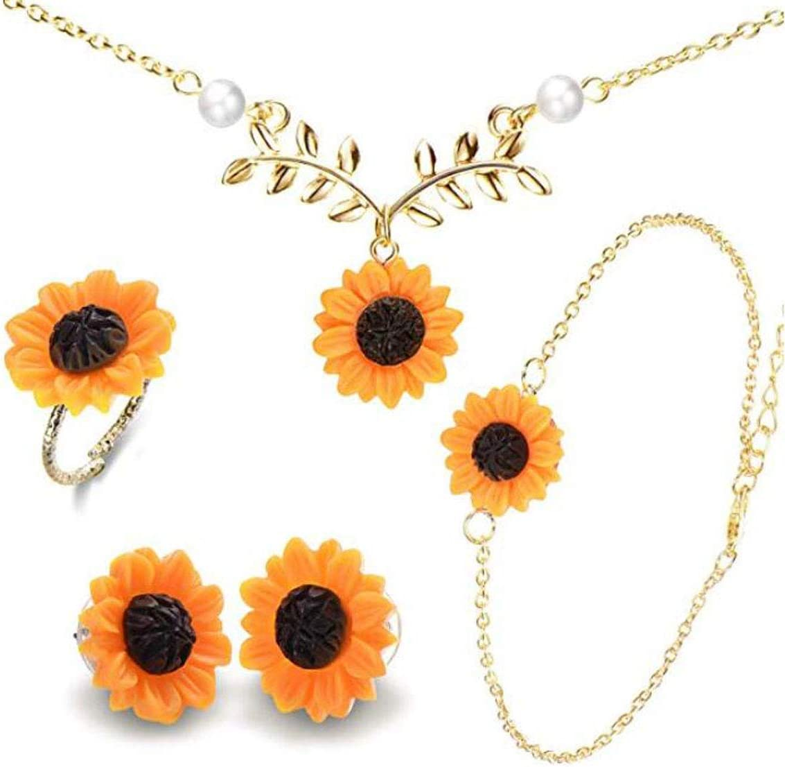 Set of 5 Sunflower Faux Pearl Leaf Chain Resin Boho Petal Pendant Necklace with Sunflower Bracelet Earrings Ring for Women Jewelry Accessories (Gold)