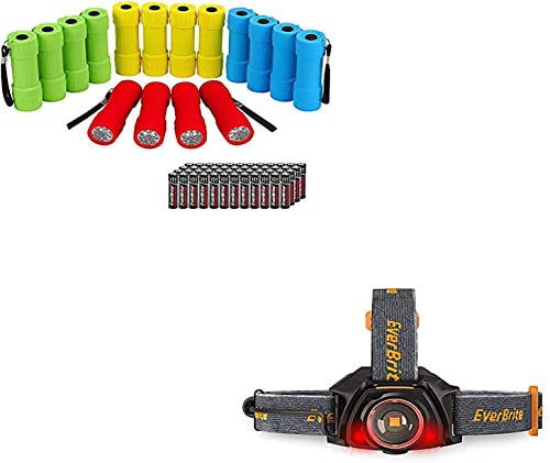 lowest EverBrite 16-pack lowest Mini LED Flashlights &1-pack Rechargeable Headlamp, sale AAA Batteries Included sale