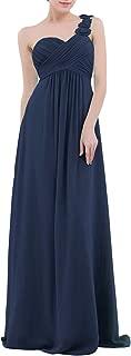 YiZYiF Chiffon Applique One Shoulder Long Bridesmaids Party Dress