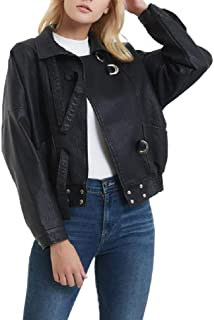 Howely Women's Fall Winter Faux Leather Classic Baseball Bomber Jacket