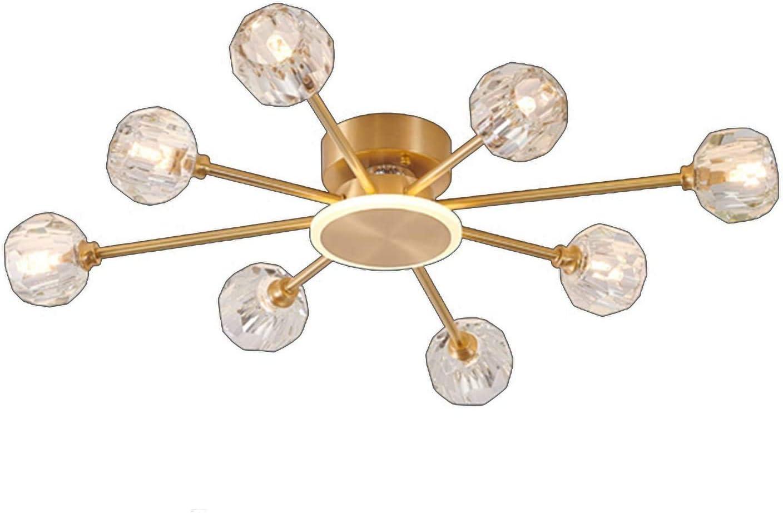 SHSM Luces de Techo de Cristal de Latón Modernos, Lámparas Led de G9 Luz con K9 Lámpara de Cristal Shade Nordic Classic Sputnik Chandeliers Iluminación para Sala de Estar Dormitorio