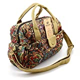 BLUBOON Women Bags Crossbody Bags Fashion Girls Vintage Floral Printed Handbag Canvas Schoolbag Travel Shoulder Bag Leisure shopping Handbag