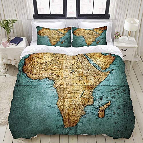 Juego de Funda nórdica, Vintage Map Africa Mapmakerhaas Johann Matthias, Colorido Juego de Cama Decorativo de 3 Piezas con 2 Fundas de Almohada