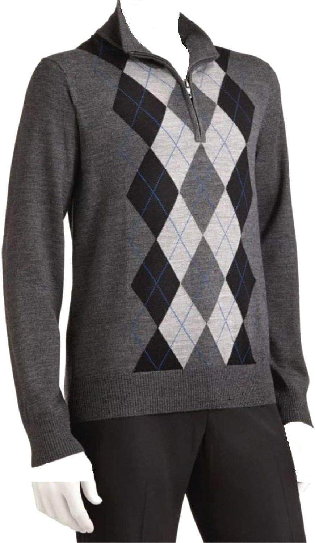 LIZ CLAIBORNE Apt 9 Mens 1/4 Zip Sweater Merino Wool Blend Big & Tall Argyle