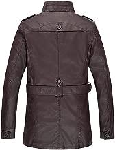 iHHAPY Men's Faux Leather Jacket Warm Biker Jacket Imitation Leather Coat for Autumn Winter Zipper Biker Jacket