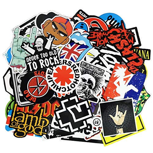 Waterproof Rock Music Stickers Pack (100pcs) for Guitar, Laptops, Water Bottles, Cars, Travel Case, Skateboard, Luggage, Vintage Vinyl Sticker and Decals Pack