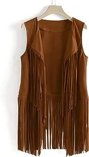 Surprise S Women Solid Tassel Coat Autumn Winter Suede Ethnic Sleeveless Tassels Fringed Vest