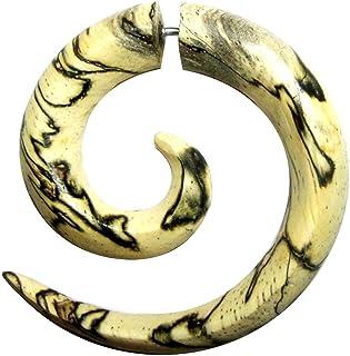 Finto piercing a spirale in acciaio inox, a forma di lumaca in legno, per dilatatore, unisex, 6 mm, 8 mm, chiusura a vite