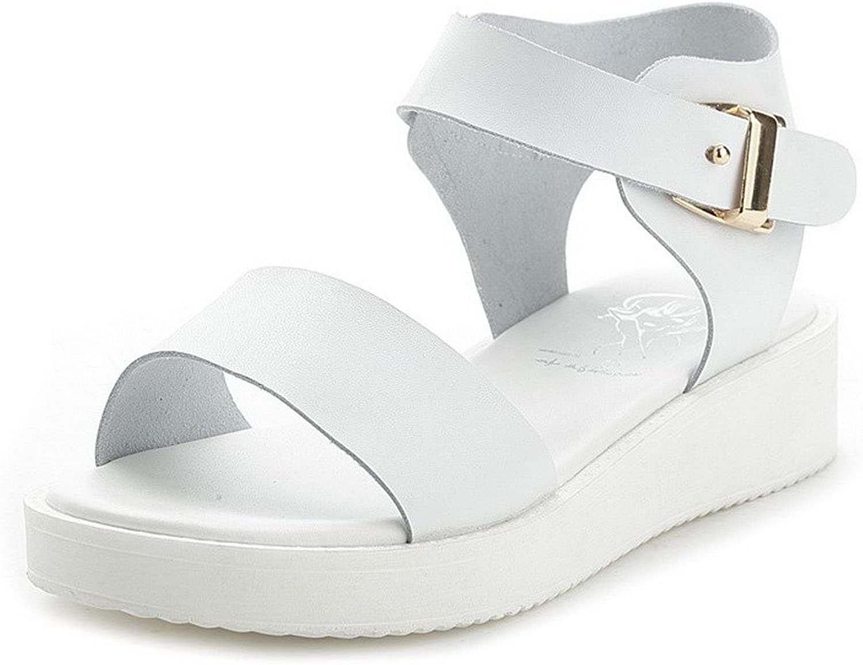 AmoonyFashion Women's Buckle Low Heels Blend Materials Solid Open Toe Sandals