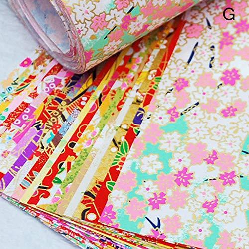 20 stks/pak Japanse stijl Gouden Lijnen Bloem Papier Kraan Decoratieve Milieu Materia Diy Kids Origami Papier Plakboek Decor, stijl G 7x7 cm, China