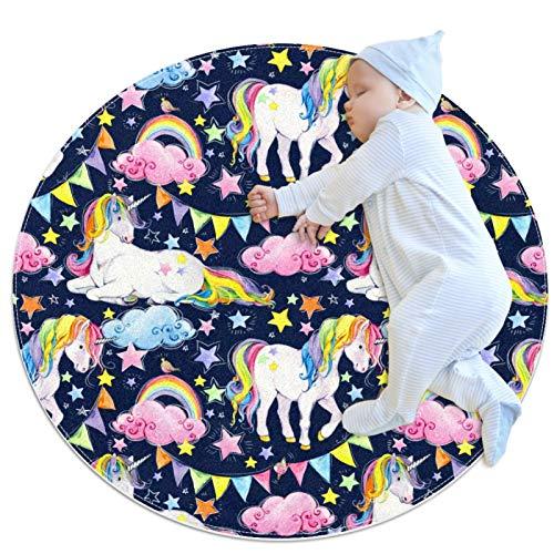 Alfombra de goma decorativa para interiores con diseño de unicornio y cuento de hadas, diseño de arco iris, 80 x 80 cm