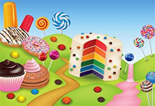 Leowefowa Girl's 1st Birthday Party Backdrop 8x6.5ft Vinyl Photography Background Candyland Sweety Rainbow Birthday Cake Lollipops Donuts Cupcakes Illustration Baby Shower Child Kids Baby Bday Banner
