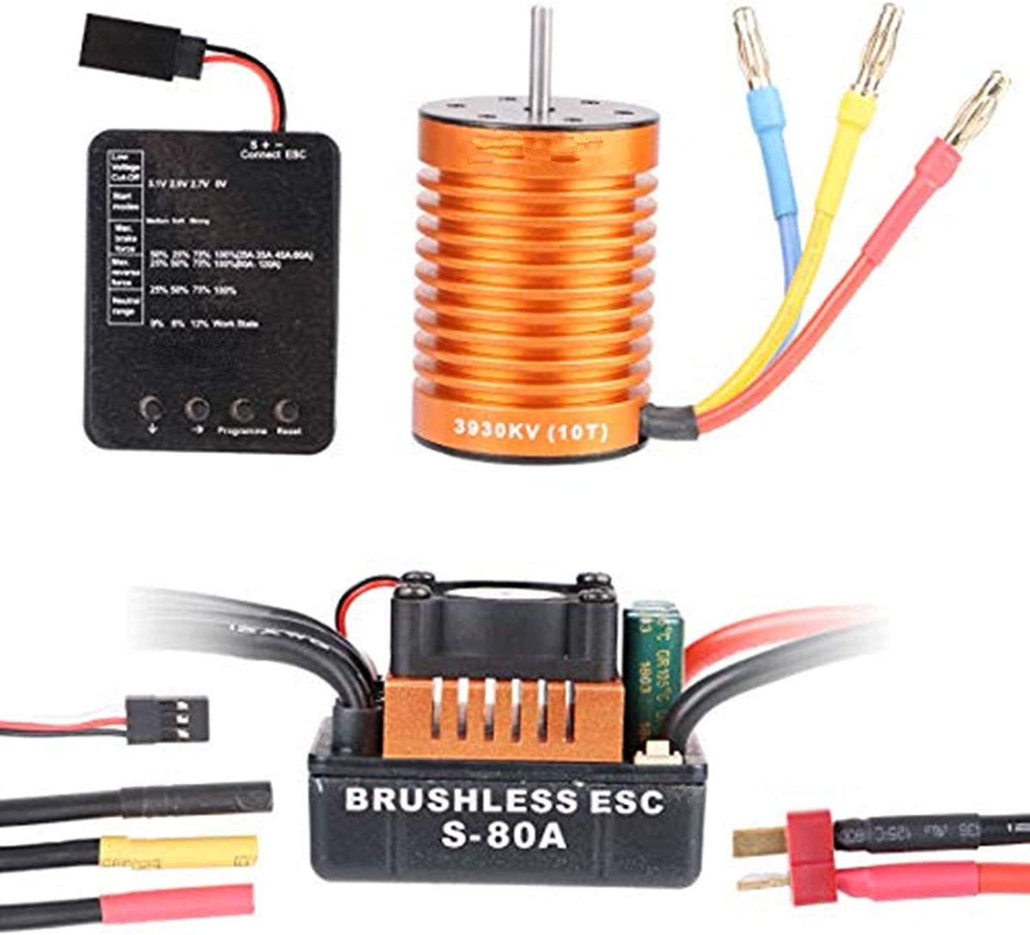 wholesape barato Crazepony-UK 10T 10T 10T 3930KV 4 Poles Sensorless Brushless Motor with 80A ESC and Programming Coched Combo Set for 1 10 RC Coche Truck  genuina alta calidad