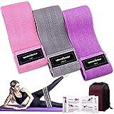 Bandas Elasticas Gluteos Musculacion, 3 Piezas Cintas Elasticas Musculacion para Piernas/Glúteos/Muslo,Bandas de Resistencia para Hombres Mujeres Pilates Yoga y musculación (Pink/Gray/Purple)