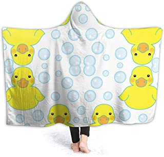 NiYoung Extra Soft Hoodie Throw Blanket for Bed Couch Sofa, Large Throw Wearable Cuddle Super Warm Sherpa Flannel Office Blankets (Rubber Ducks and Bubbles, 40x50 inch)
