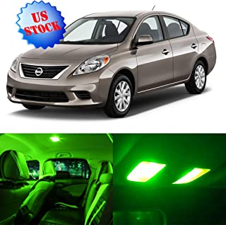 SCITOO LED Interior Light 9pcs Green Package Kit Accessories Replacement for 2012-2016 Nissan Versa