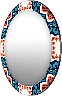 999Store Printed Classical Blue and White Round Mirror (MDF_24X24 Inch_Multi)