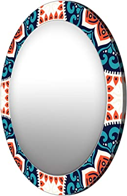 999Store Printed Classical Blue and White Round Mirror (MDF_17X17 Inch_Multi)