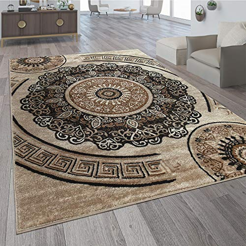 Paco Home Teppich Wohnzimmer Kurzflor Orient Design Vintage Mandala Muster Braun Beige, Grösse:200x280 cm