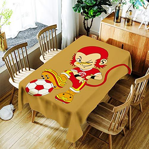 Tafelkleed Cartoon Monkey King voetbal verjaardagsfeestje voor kinderen (rechthoekig, 55x78 inch)