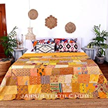 Jaipurtextilehub Patola Silk Patch Work Kantha Quilt, Kantha Blanket Bedspread, Patch Kantha Throw Kantha Bedspread, Bohem...