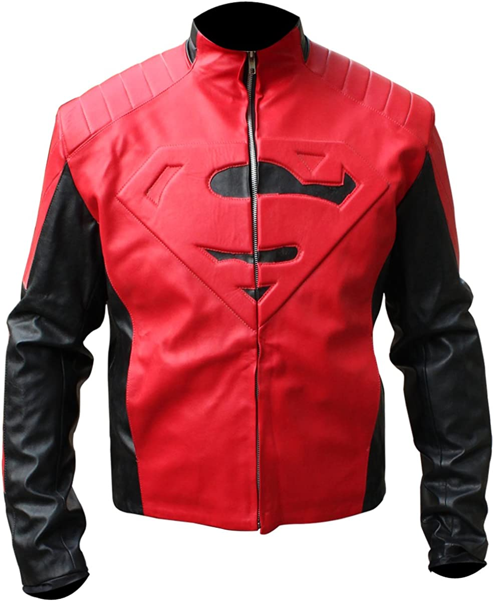 latest Fashionable LEATHER ICON STORE Mens Black and Jacket Super Red S with