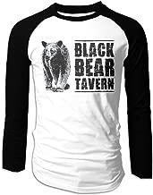 Creamfly Mens Black Bear Poster Long Sleeve Raglan Baseball Tshirt
