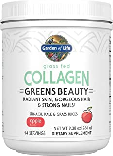 Garden of Life Grass Fed Collagen Greens Beauty Powder - Apple, 14 Servings, Collagen Powder for Women Skin Hair Nails Joi...