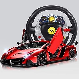 Coche deportivo de radiocontrol con luces LED RC Drift 1/16 Escala RTR Modelo súper deportivo con puertas abiertas Carga eléctrica de alta velocidad Sport Racing Rojo para mayores de 5 años Regalo p