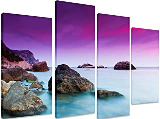 Imagen – Panel de multi Split lienzo arte Art – Beautiful Summer Sunset Sunrise Over Seashore Purple Sky Sea Ocean – Art Depot Outlet – 4 – Panel 101 x 71 cm (40