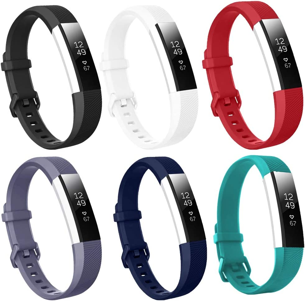 Bands Compatible with Fitbit Alta/Alta HR for Women and Men, Classic Soft Silicone Sport Strap Replacement Wristband for Fitbit Alta/Alta HR/Fitbit(2 Pack)