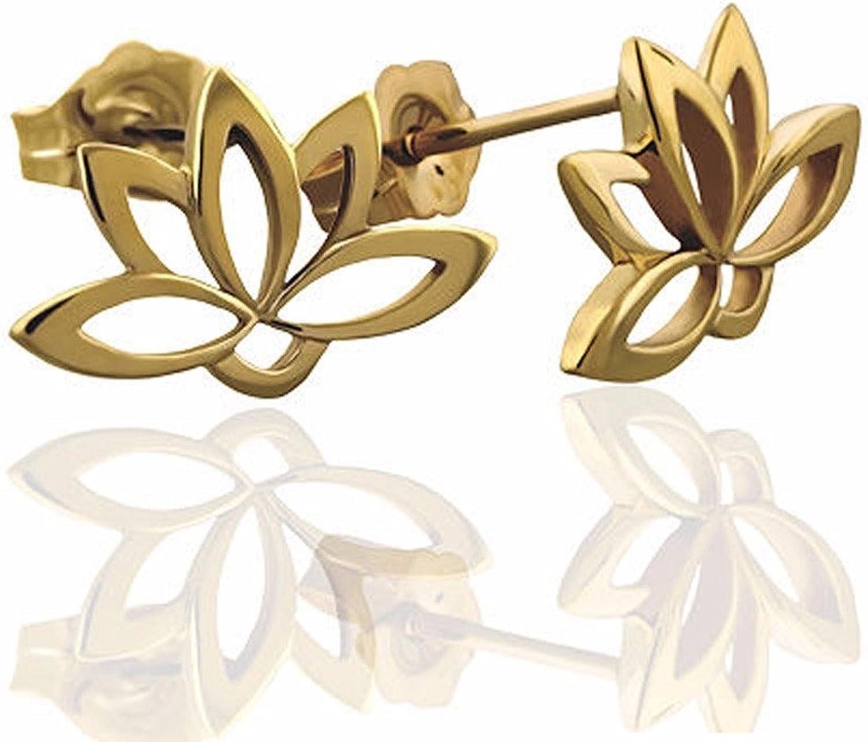 14K gold Lotus Flower Buddhist Post Earrings