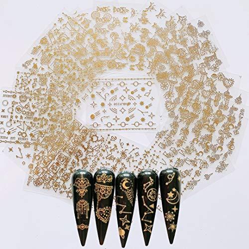 NAIL ANGEL 24 Sheets Nail Art Adhesive Gold Color Sticker Sheets Moon Star Universal Flower Shapes Sticker Sheets Nail Art Deco 10057