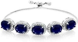 Gem Stone King 13.55 Ct Oval Blue Sapphire 925 Sterling Silver Adjustable Bracelet