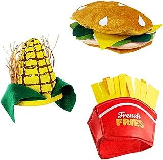 Food Hats – Fast Food Hats - Burger Hat - Fries Hats - Corn On The Cob Hat - Food Costumes (3 Pack)